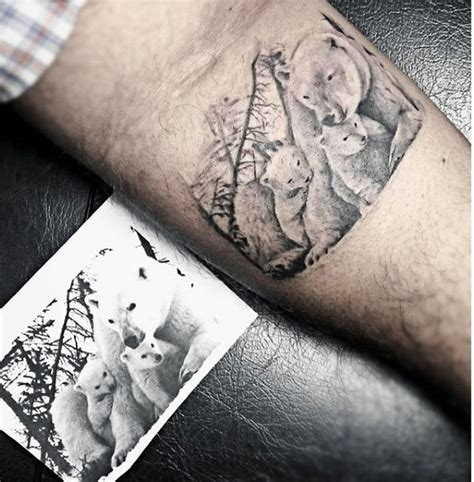 tattoo family bear very realistic looking white bear family tattoo on arm