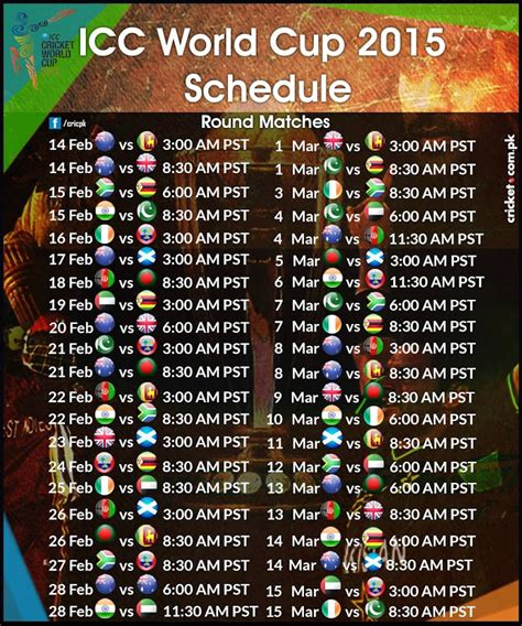 World Cup 2015 Calendar Search Results For Icc World Cup 2015 Schedule Calendar
