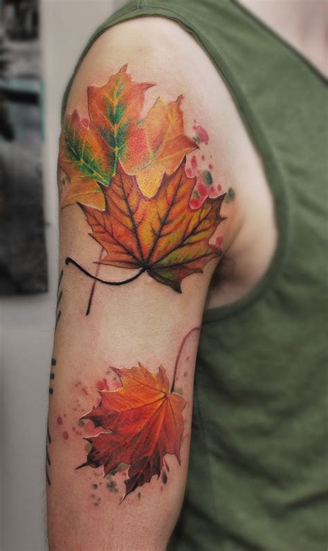 fall leaves tattoo best 25 maple leaf tattoos ideas on colorful