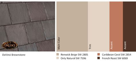exterior color scheme brownstone davinci slate roof