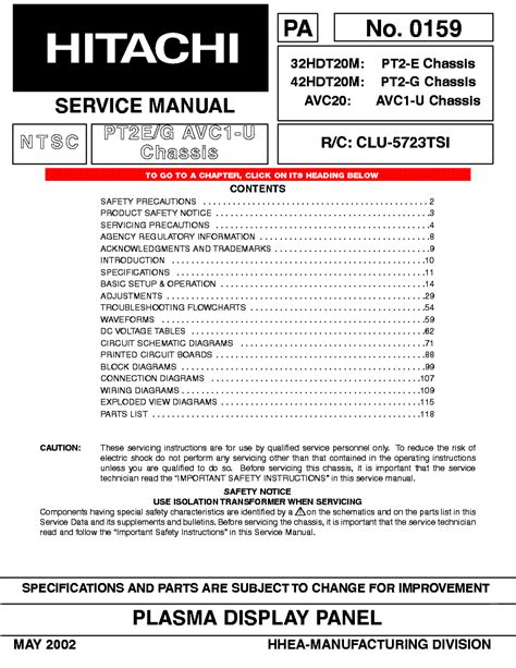 Hitachi S3 M3 Chassis Cmt2199 Service Manual Free Download