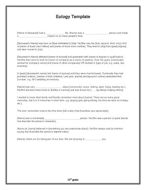 free eulogy card templates obituary exles forms and templates fillable