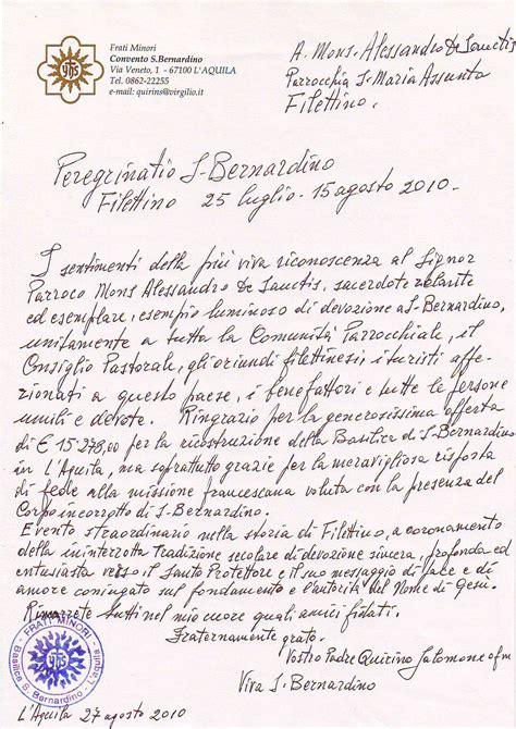 lettere di ringraziamento lettera di ringraziamento padre quirino salomone a don
