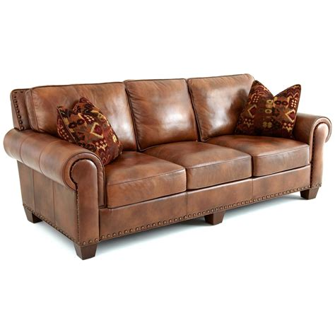 Silverado Sofa Rolled Arms Pillows Caramel Brown Caramel Leather Sofa