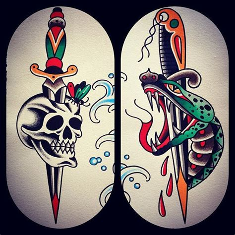 american traditional skull tattoos skull and snake daggers traditional and neo