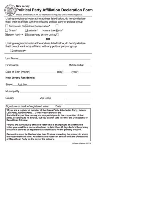 Fillable Political Party Affiliation Declaration Form