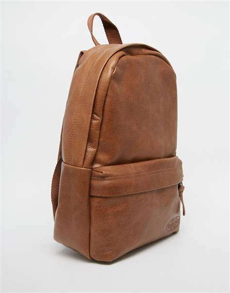 S Leather Backpack Brown lyst eastpak leather backpack in brown