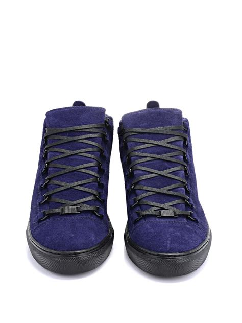 blue suede balenciaga sneakers lyst balenciaga arena suede high top sneakers in blue