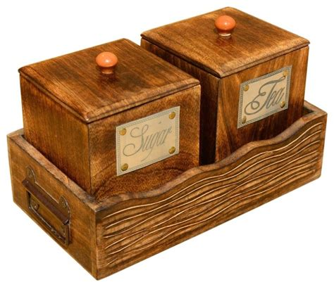sugar and tea wooden canister and tray set rustic