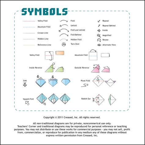 Origami Symbols - creased magazine for paper folders