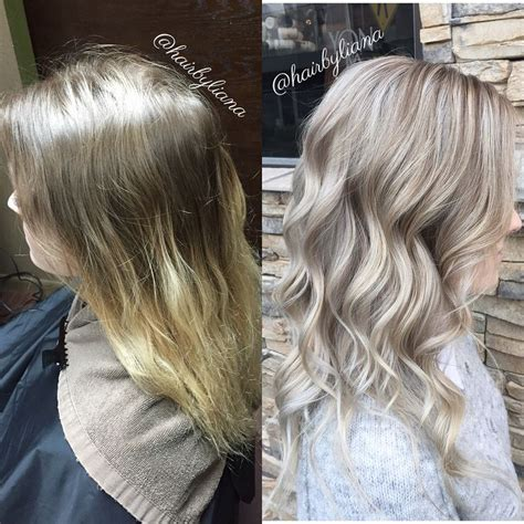 how to get icy silver hair before and after to bright silver blonde hair pretty icy