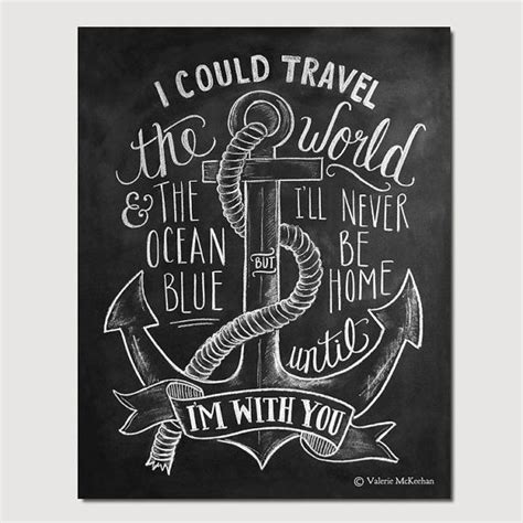 Chalkboard Love And Hope Anchors - nautical print travel print chalkboard art anchor