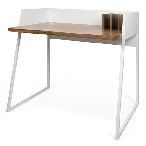 White Small Desk Modern Desks Volga Walnut White Desk Eurway Furniture