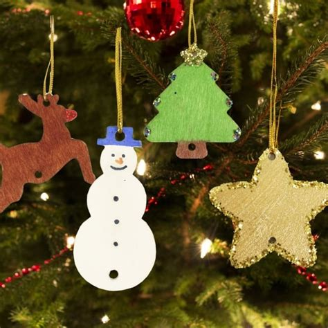 wooden christmas tree decorations pack of 54 art