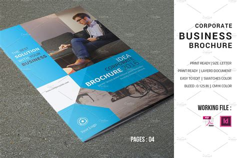 Corporate Brochure Template V598 Brochure Templates Creative Market Corporate Brochure Design Templates