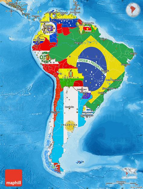 south america map and flags flag map of south america political shades outside