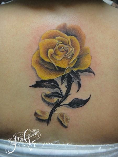 yellow rose by kelly green tattoonow
