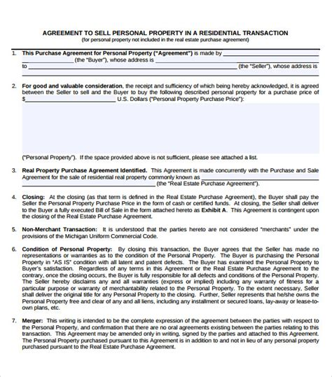 sle sales contract property purchase agreement template 28 images sle