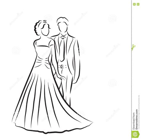 Hochzeit Zeichnung by Silhouette Of And Groom Newlyweds Sketch
