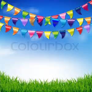 Congratulation Poster Bunting Birthday Flags With Sky And Grass Border With Gradient Mesh Vector Illustration Stock