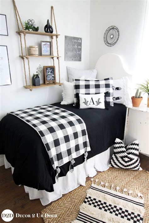 monograms the ultimate dorm room design avad fan farmhouse black white gingham plaid dorm bedding