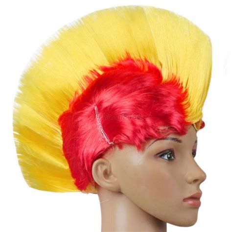 halloween fancy dress costumes scary masks and wigs hot rainbow mohawk hair wig fancy costume punk rock wigs