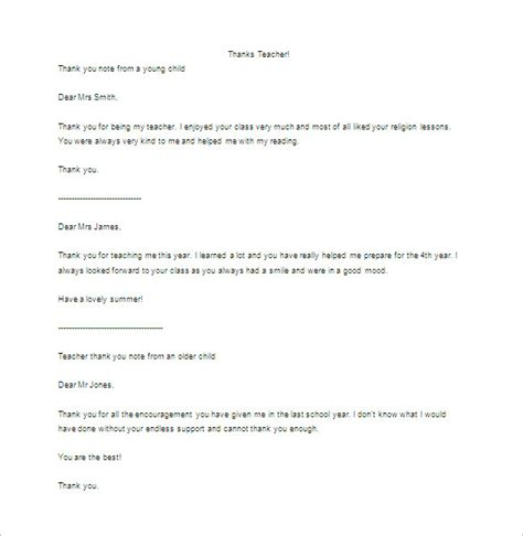 Thank You Letter For An Teaching Thank You Letter To 9 Free Sle Exle Format Free Premium Templates