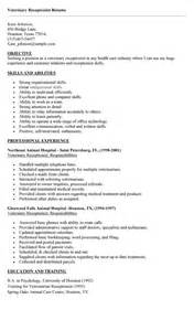 Resume Cover Letter Veterinary Receptionist Veterinary Receptionist Resume Cover Letter Resume Format