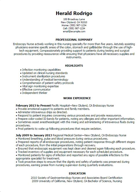 Endoscopy Resume Objective endoscopy resume template best design tips