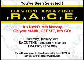 amazing race birthday templates editable amazing race invatations invitations ideas