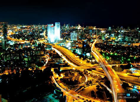 tel aviv azrieli center towers glowing in the lively nightlife city of tel aviv israel the list