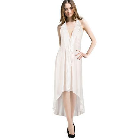 white chiffon runway dress 2015 summer
