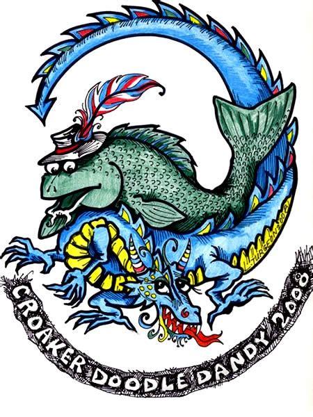 Tshirt Dandi Logo Nc croaker festival 2008 logo drawing the town artist