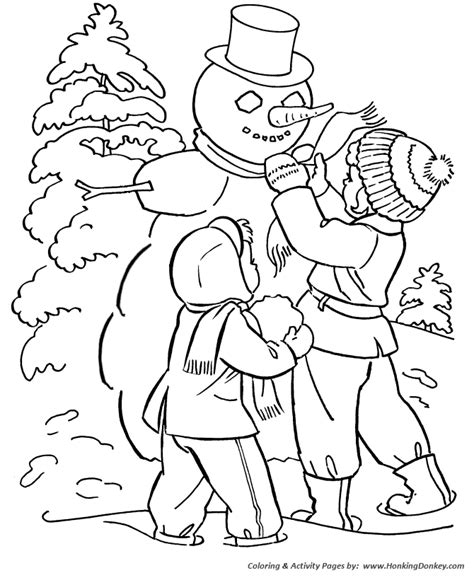Free Coloring Pages Of Winter Snowman Coloring Pages Winter Season