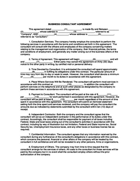 consultant agreement template business consultant agreement template free