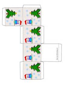 free printable christmas favor box with tree and owl