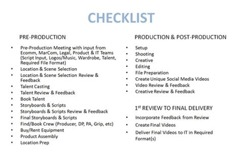 pre production checklist template ecommerce production practical ecommerce