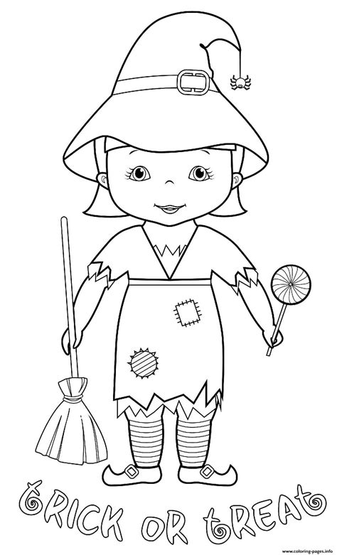 Halloween Trick Treat Witch Costume Coloring Pages Printable