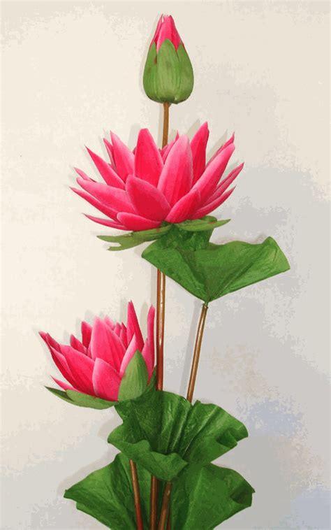 3 lotus pink artificial silk flowers stalk
