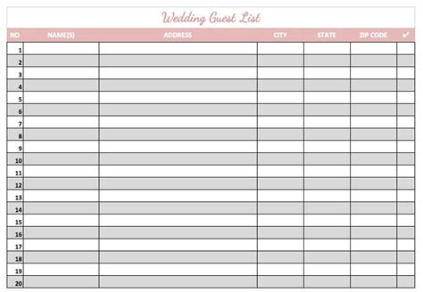 printable guest list template 8 wedding guest list templates word excel pdf formats
