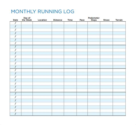 running template sle running log template 9 free documents in pdf