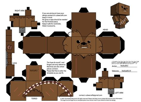 Wars Paper Craft - chewbacca template cubeecraft by neibaf63 on deviantart