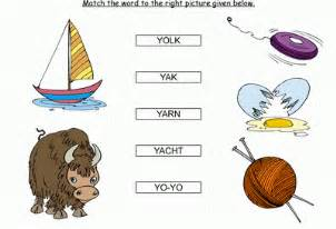 Kids activity match the words starting with y black amp white picture