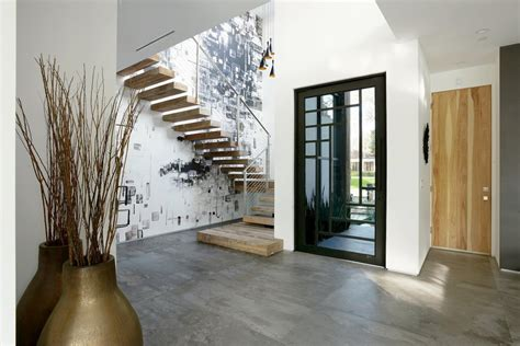 Entrance Foyer Designs Contemporary Home With Pool Has Black And White Interior