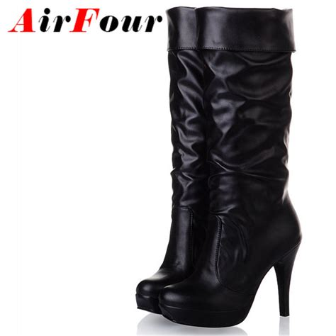 airfour large size winter knee high boots black