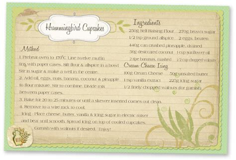 printable recipes for cupcakes hummingbird cupcakes free printable recipe card