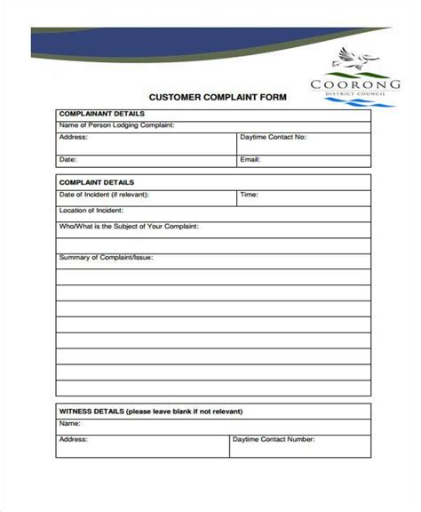 customer complaint form template complaint form templates
