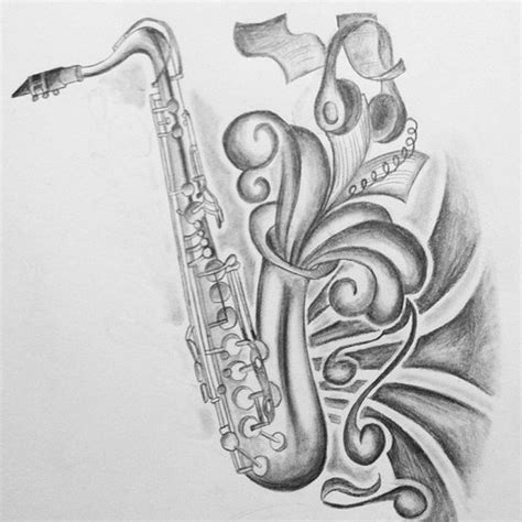pencil drawings tattoo designs saxophone black and white pencil and in color