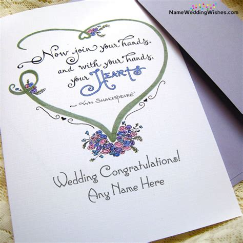 Wedding Card With Name by Wedding Congratulations Greetings Card With Name