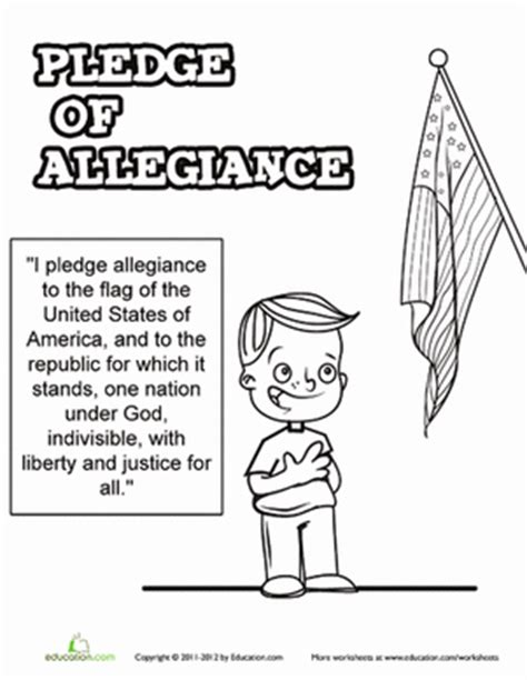 Pledge Of Allegiance Worksheet Education Com Pledge Of Allegiance Coloring Page
